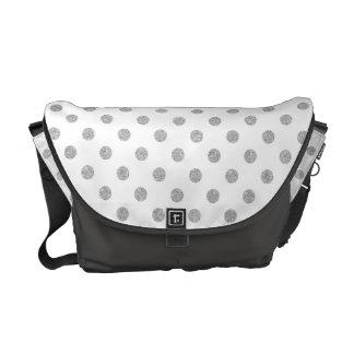 Elegant Silver Glitter Polka Dots Pattern Messenger Bags
