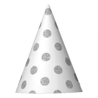 Elegant Silver Glitter Polka Dots Pattern Party Hat