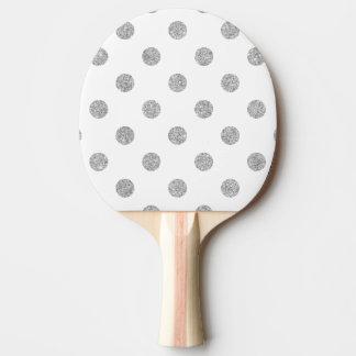Elegant Silver Glitter Polka Dots Pattern Ping Pong Paddle