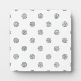 Elegant Silver Glitter Polka Dots Pattern Plaque