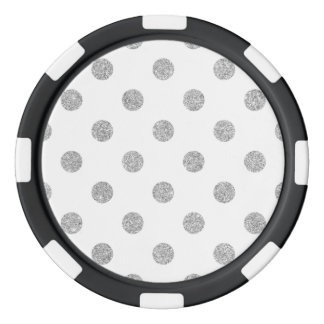 Elegant Silver Glitter Polka Dots Pattern Poker Chips