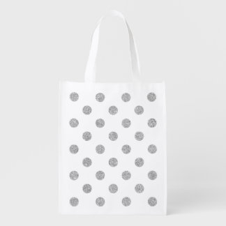 Elegant Silver Glitter Polka Dots Pattern Reusable Grocery Bag