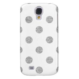 Elegant Silver Glitter Polka Dots Pattern Samsung Galaxy S4 Cover