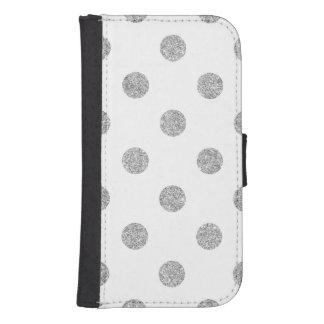Elegant Silver Glitter Polka Dots Pattern Samsung S4 Wallet Case