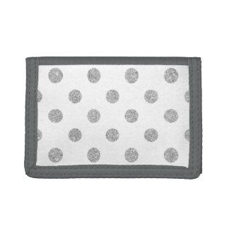 Elegant Silver Glitter Polka Dots Pattern Tri-fold Wallets