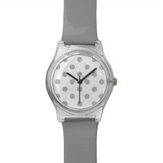 Elegant Silver Glitter Polka Dots Pattern Watch