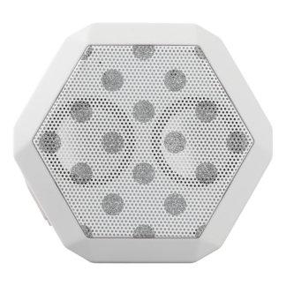 Elegant Silver Glitter Polka Dots Pattern White Bluetooth Speaker