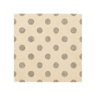 Elegant Silver Glitter Polka Dots Pattern Wood Wall Art