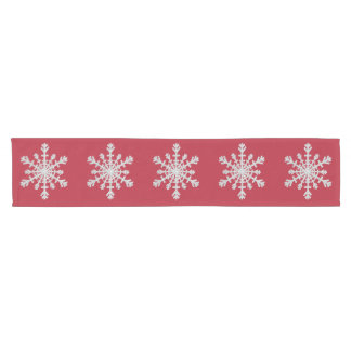 Elegant Silver Glitter Snowflake on Christmas Red Short Table Runner