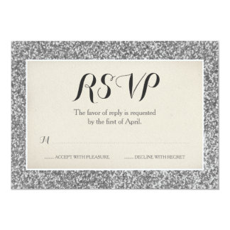 Elegant Silver Glitter Wedding RSVP Card