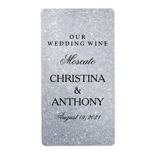 Elegant Silver Glitter Wedding Wine Label Shipping Label