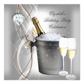 Elegant Silver Gold Champagne Birthday Party 13 Cm X 13 Cm Square Invitation Card