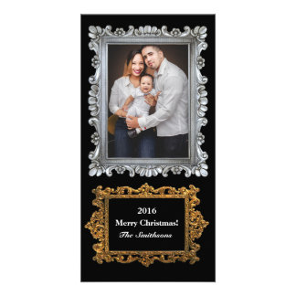 Elegant Silver Gold Frames Vertical Photo Holiday Personalised Photo Card