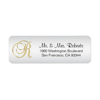 Elegant Silver Gold Monogram Letter R Return Return Address Label