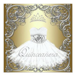 Elegant Silver Gold Quinceanera Invitations