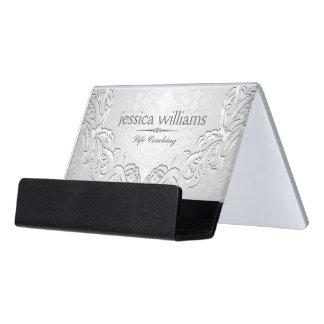 Elegant Silver Gray Floral Frame Desk Business Card Holder