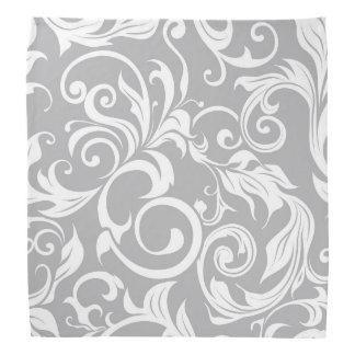 Elegant Silver Gray Floral Wallpaper Swirl Pattern Bandana