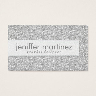 Elegant Silver Gray Glitter & Sparkles Texture Business Card