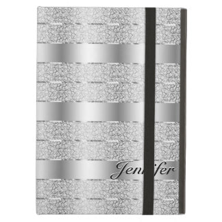 Elegant Silver Gray Metallic Stripes Monogram Case For iPad Air