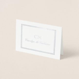 Elegant Silver & Gray Minimalist Monogram Foil Card
