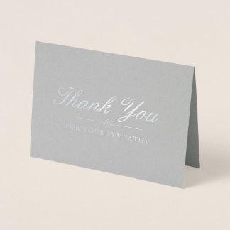 Elegant Silver & Gray Sympathy Thank You Foil Card