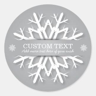 Elegant Silver Gray + White Personalized Snowflake Round Sticker