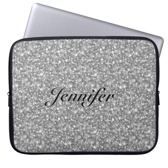 Elegant Silver Grey Glitter & Sparkles 2-Monogram Laptop Sleeve