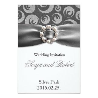 Elegant Silver Grey Pearl Ribbon Wedding Card 9 Cm X 13 Cm Invitation Card