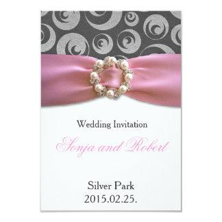 Elegant Silver Grey Pink Ribbon Wedding Invitation