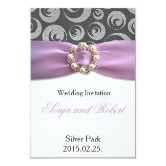 Elegant Silver Grey Purple Ribbon Wedding Card 9 Cm X 13 Cm Invitation Card