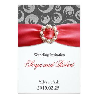 Elegant Silver Grey Red Ribbon Wedding Invitation