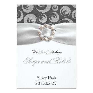 Elegant Silver Grey White Ribbon Wedding Card 9 Cm X 13 Cm Invitation Card