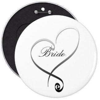 Elegant silver heart DIY Template 6 Cm Round Badge