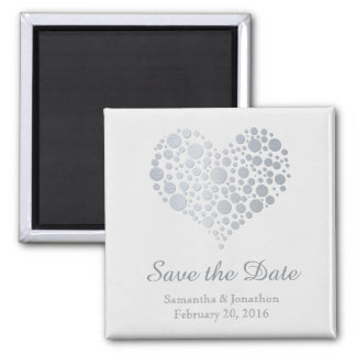 Elegant Silver Heart on Light Gray Save the Date Square Magnet