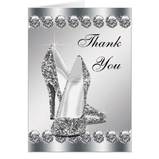 Elegant Silver High Heel Shoe Thank You Cards