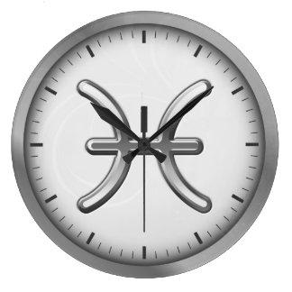 Elegant Silver Luxury Pisces Zodiac Symbol | Large Clock
