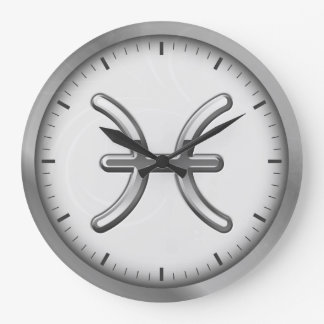 Elegant Silver Luxury Pisces Zodiac Symbol | Wall Clock