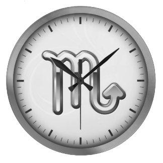 Elegant Silver Luxury Scorpio Zodiac Symbol   Clocks