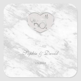 Elegant Silver Marble We stll DO Renew the Vows Square Sticker