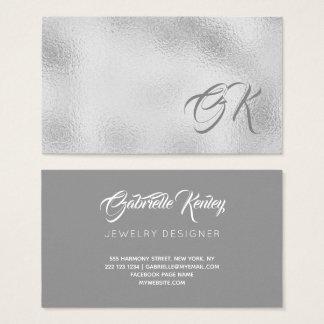 Elegant silver metallic monogrammed calligraphy business card