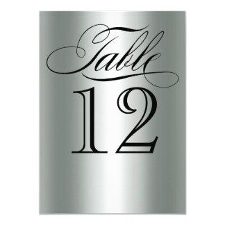 Elegant Silver Metallic Table Number Glam Bling 11 Cm X 16 Cm Invitation Card