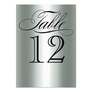 Elegant Silver Metallic Table Number Glam Bling Card