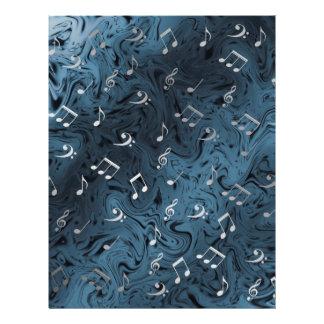 elegant silver music notes in blue 21.5 cm x 28 cm flyer