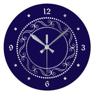 Elegant Silver Ornate Retro Design Large Clock