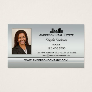 Elegant Silver Photo Professional Business Card