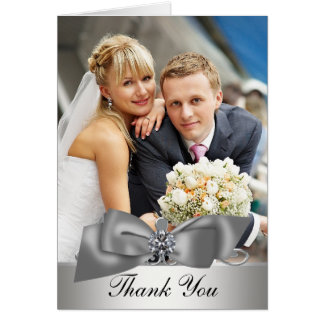 Elegant Silver Photo Wedding Thank You Cards