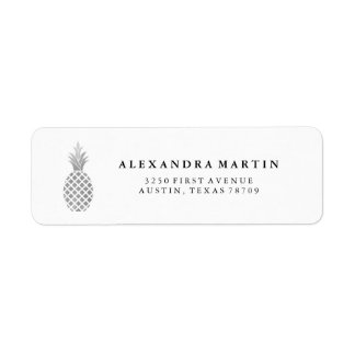 Elegant Silver Pineapple Return Address Label