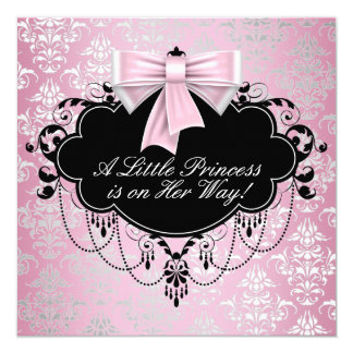 Elegant Silver Pink Black Princess Baby Shower 13 Cm X 13 Cm Square Invitation Card