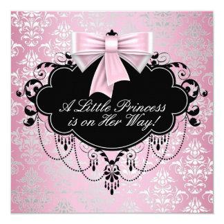 Elegant Silver Pink Black Princess Baby Shower Card