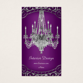 Elegant Silver Plum Chandelier Interior Design Business Card